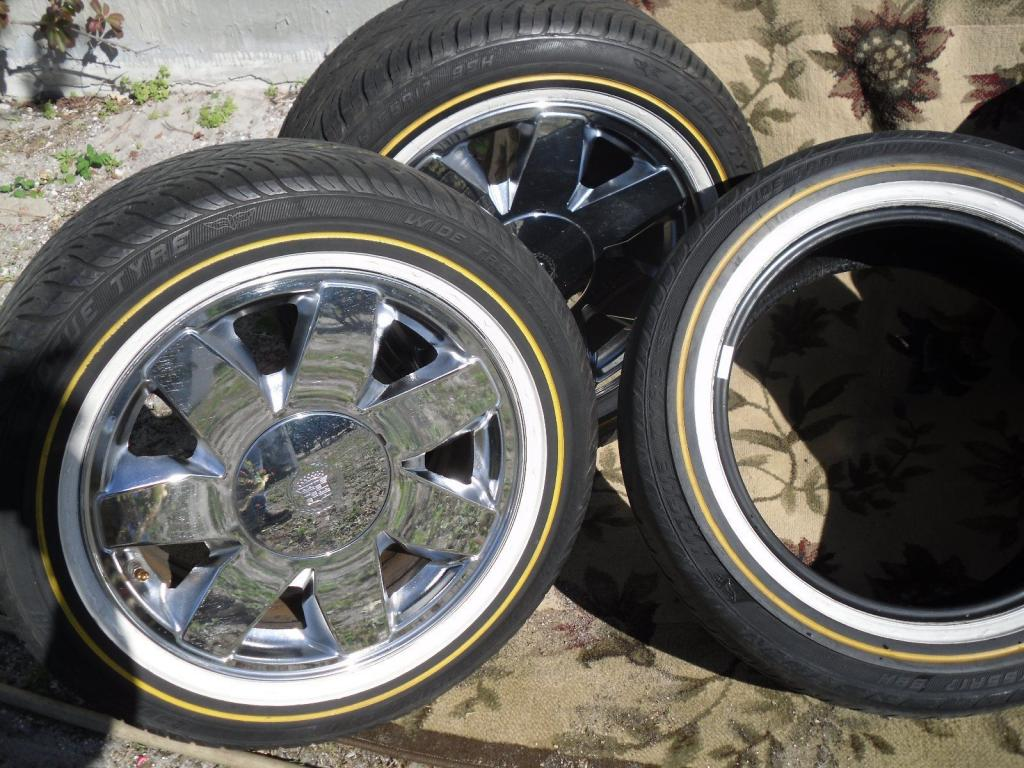 Set Of 17 Quot Cadillac Chrome Rims Amp Vogue Tyres For Cadillac D For Sale Collectorcarsforsale Com